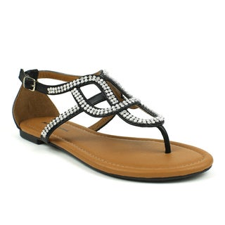 Mark & Maddux Women's 'Paul-06' Black Rhinestones Flat Sandals