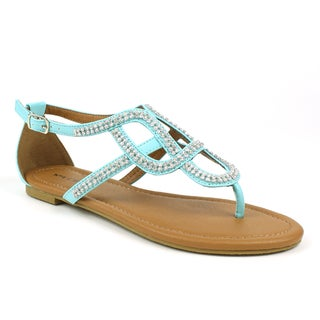 Mark & Maddux Women's 'Paul-06' Teal Rhinestones Flat Sandals