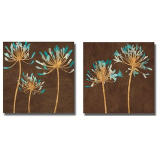 Erin Lange 'Teal Bloom I and II' 2-piece Canvas Art Set