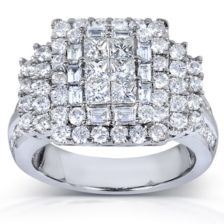 Annello 14k White Gold 2.5ct TDW Mixed Cut Diamond Pave Ring (H-I, I1-I2)