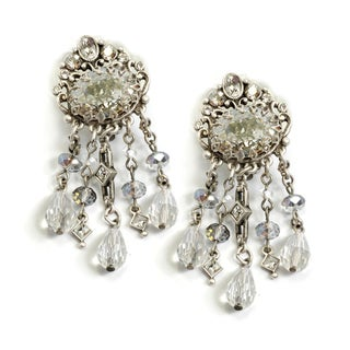Sweet Romance Silvertone 1920s Speakeasy Clip-on Earrings