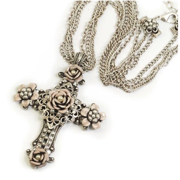 Sweet Romance Blush Enamel Floral Cross Necklace