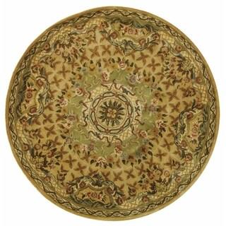 Safavieh Hand-made Classic Taupe/ Light Green Wool Rug (3'6 Round)