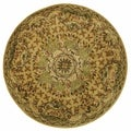 Safavieh Hand-made Classic Taupe/ Light Green Wool Rug (3'6 Round)