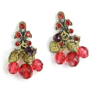 Sweet Romance Retro Cherries Jubilee Red Crystal Cherry Earrings