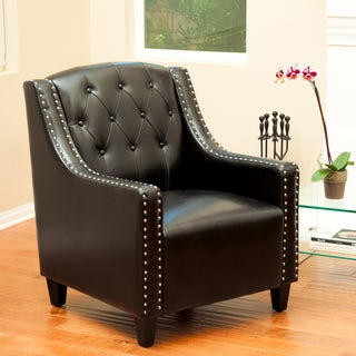 Christopher Knight Home Gabriel Tufted Black Leather Club Chair