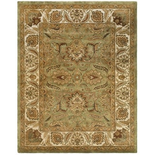 Safavieh Hand-made Classic Green/ Ivory Wool Rug (6' x 9')