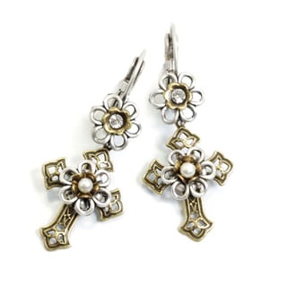 Sweet Romance Flower Chapel Crosses Earrings