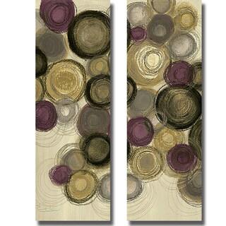 Jeni Lee 'Purple Whimsy Panel I and II' 2-piece Canvas Art Set