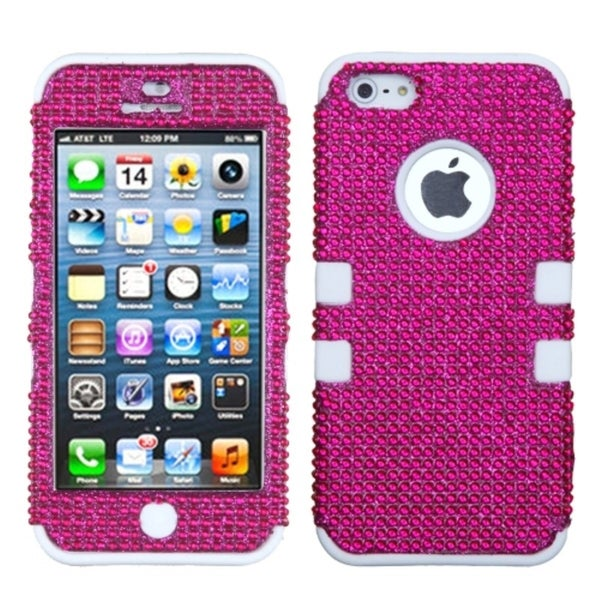 BasAcc Pink/ Solid White Diamante Tuff Hybrid Case For Apple® iPhone 5