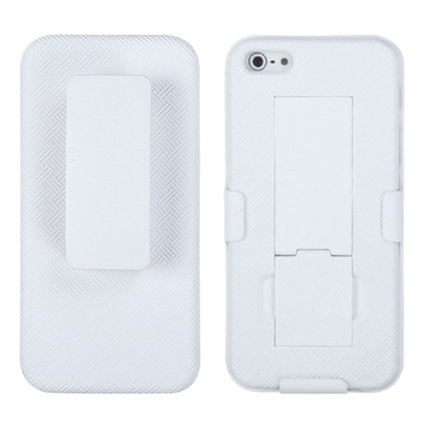 INSTEN Solid Ivory White Rubberized Hybrid Holster for Apple iPhone 5