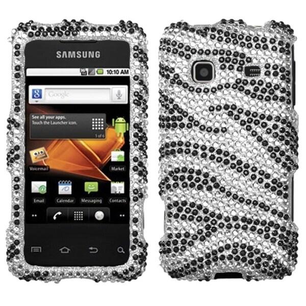 INSTEN Black/ Zebra Diamante Phone Case Cover for Samsung M820 Galaxy Prevail