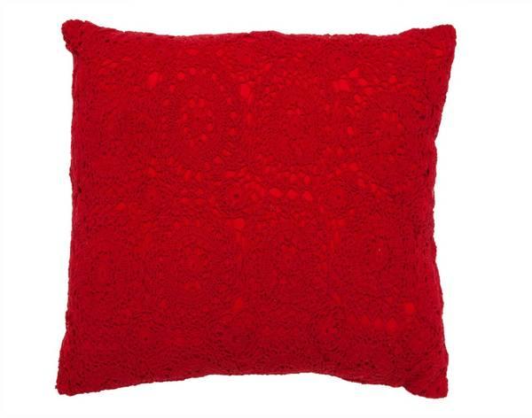 Red Crochet Pillow Decorative 16-inch Pillow