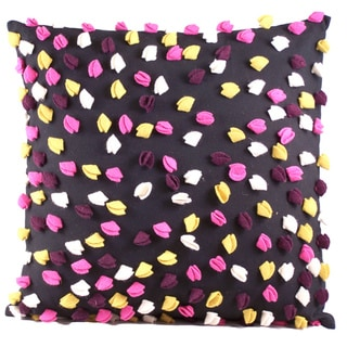 Black Multi-Color Confetti 18-inch Decorative Down Pillow