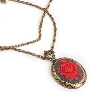 Sweet Romance Red Rose Cameo Necklace