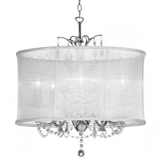 Silk Drum Shade 5-Light Crystal Chandelier