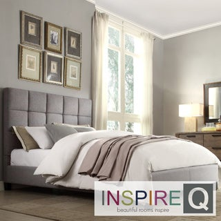 INSPIRE Q Fenton Grey Linen Column Bed