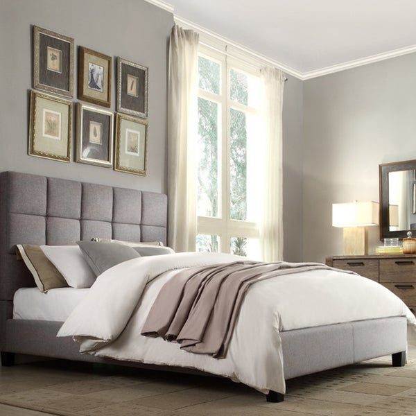 INSPIRE Q Fenton Grey Linen Panel Upholstered Bed