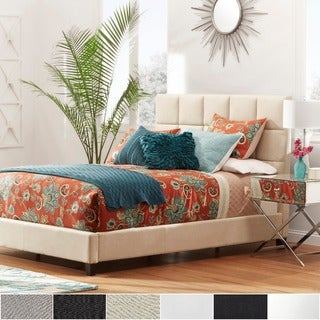 INSPIRE Q Fenton Grey Linen Panel Upholstered Bed
