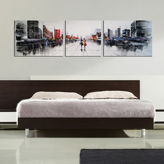 'Dream City' 3-piece Gallery-wrapped Hand Painted Canvas Art Set