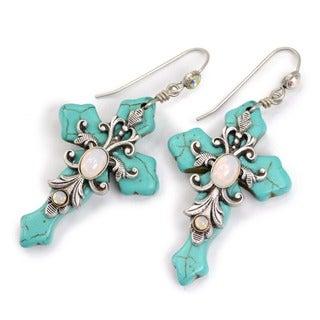 Sweet Romance Opal Glass and Turquoise Cross Earrings