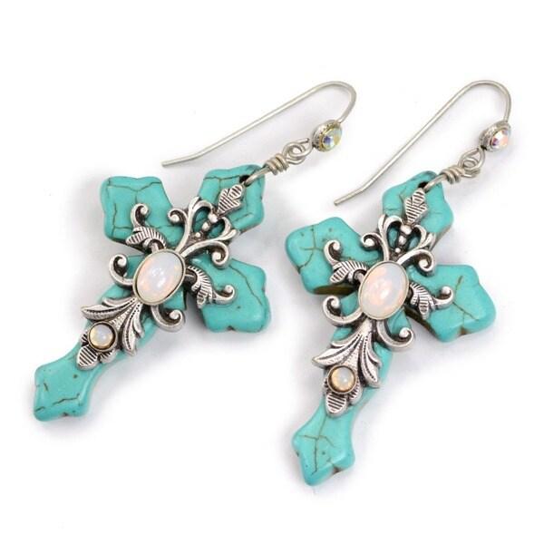 Sweet Romance Turquoise and Opal Cross Earrings