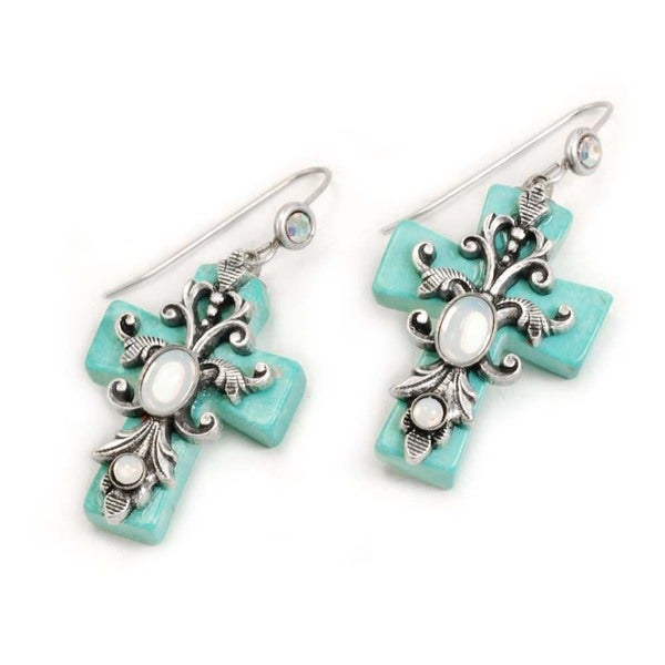 Sweet Romance Opal Glass/ Turquoise Cross Earrings