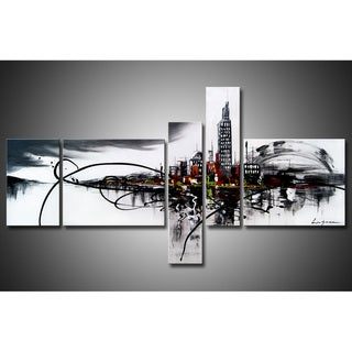 'City On The River' 5-piece Gallery-wrapped Hand Painted Canvas Art Set