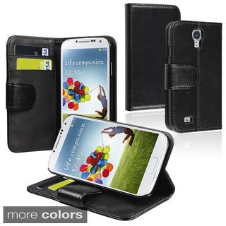Basacc Black Leather Case with Card Wallet for Samsung Galaxy S4