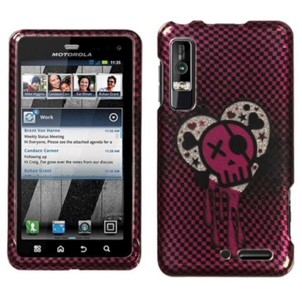 INSTEN I Heart Rock 2D Silver Diamante Phone Case Cover for Motorola XT862 Droid 3