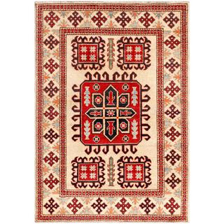 Afghan Hand-knotted Kazak Beige/ Red Wool Rug (3'2 x 4'9)