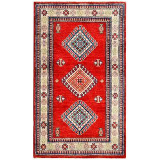 Afghan Hand-knotted Kazak Red/ Ivory Wool Rectangle Rug (2'11 x 4'10)