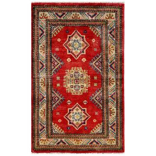 "Traditional Afghan Hand-Knotted Kazak Red/Ivory Wool Rug (2'5"" x 3'11"")"