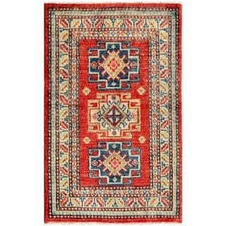Afghan Hand-Knotted Kazak Red/Ivory Wool Accent Rug (1'11 x 3')