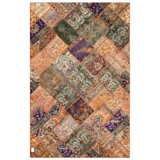 Pak Persian Hand-Knotted Geometric Patchwork Multi-Colored Wool Rug (6'3 x 9'9)