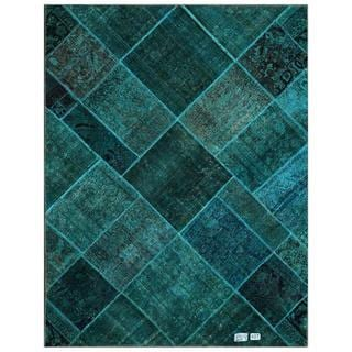 Pak Persian Hand-knotted Patchwork Multi-colored Wool Rug (4'10 x 6'4)