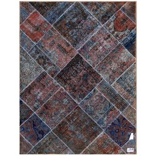"Pak Persian Hand-Knotted Patchwork Multicolored Wool Area Rug (4'9"" x 6'4"")"