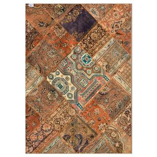 Traditional Pak Persian Hand-knotted Patchwork Multi-Colored Wool Rug (5'6 x 7'9)