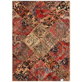 "Pak Persian Hand-Knotted Patchwork Multicolored Wool Area Rug (5'7"" x 7'9"")"