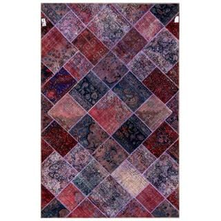 Pak Persian Hand-knotted Patchwork Multi-colored Wool Rug (6'3 x 9'9)