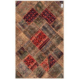 "Pak Persian Hand-Knotted Patchwork Multi-Colored Geometric Wool Rug (4'10"" x 7'8"")"
