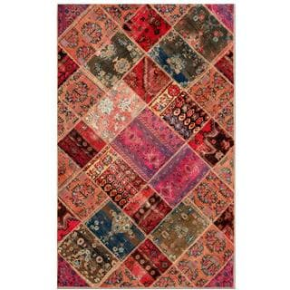 Pak Persian Hand-Knotted Traditional Patchwork Multicolored Wool Rug (4'9