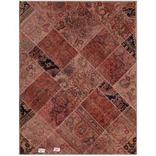 "Pak Persian Hand-Knotted Patchwork Traditional Multicolored Wool Rug (4'10"" x 6'3"")"