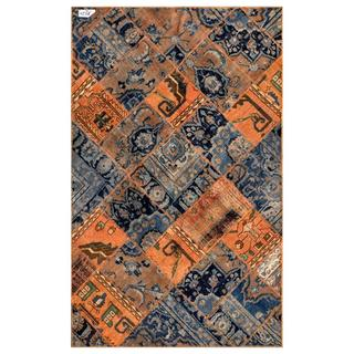 "Pak Persian Hand-Knotted Diagonal-Patchwork Multicolored Wool Rug (4'10"" x 7'9"")"