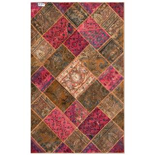 "Pak Persian Hand-Knotted Patchwork Multi-Colored Traditional Wool Rug (4'10"" x 7'8"")"
