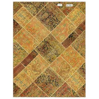 "Pak Persian Hand-Knotted Patchwork Geometric Multicolored Wool Rug (4'10"" x 6'3"")"