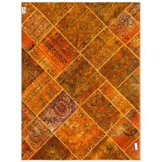 Pak Persian Hand-knotted Patchwork Multi-colored Wool Rug (4'9 x 6'4)