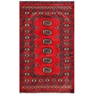 "Pakistani Hand-Knotted Bokhara Red/Ivory Wool Area Rug (2'7"" x 4'2"")"