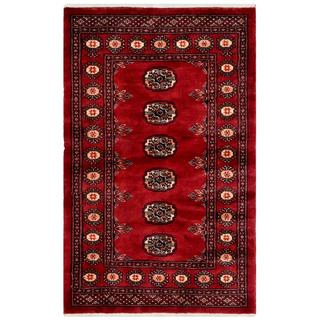 "Pakistani Hand-Knotted Bokhara Red/Ivory Plush Wool Rug (2'7"" x 4'2"")"