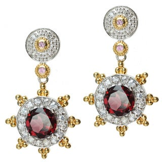 Michael Valitutti Two-tone Rhodolite, Pink and White Sapphire Earrings